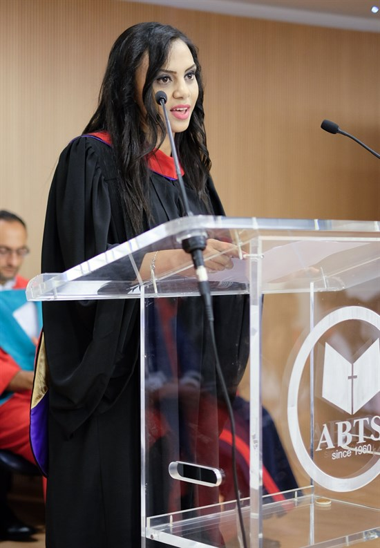 Magi was chosen to speak at graduation. Described by other students as intelligent, diligent, and a peacemaker, she exhorted her fellow graduates to remember that they are called to be co-workers with God in the ministries to which they embark. (Photo: Wissam al-Saliby)