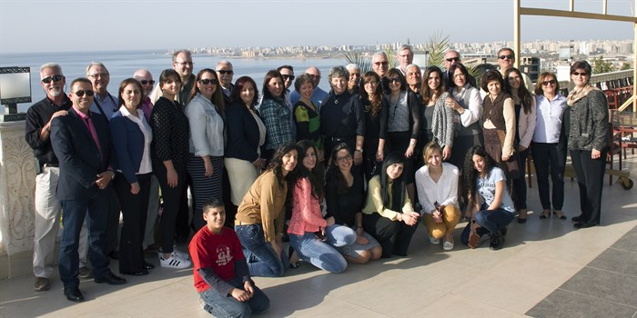 MEBO Board members, LSESD staff, and friends of the ministry shared a lunch together overlooking the Mediterranean. (Photo: Martin Evans)