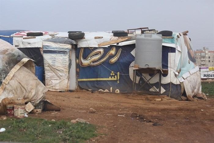 The makeshift tent dwelling of a refugee family in an unofficial camp in Lebanon. (Photo: Tim Stuckey)